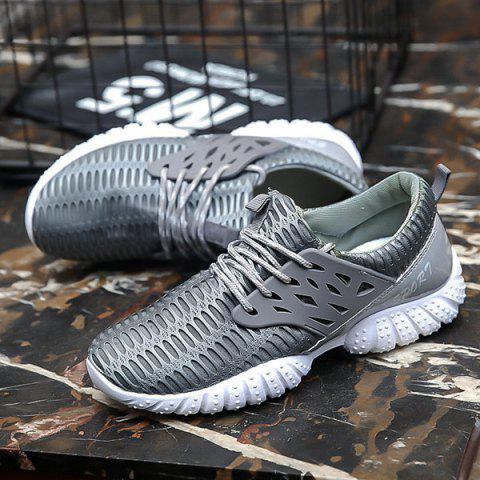 Sale Breathable Patent Leather Mesh Athletic Shoes - 40 GRAY Mobile