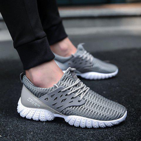 Fashion Breathable Patent Leather Mesh Athletic Shoes - 40 GRAY Mobile