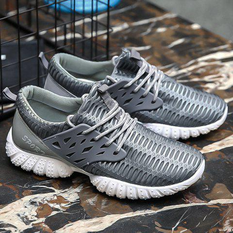 Chic Breathable Patent Leather Mesh Athletic Shoes - 40 GRAY Mobile