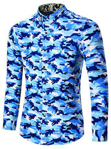 Fancy Plus Size Long Sleeve Camouflage Shirt