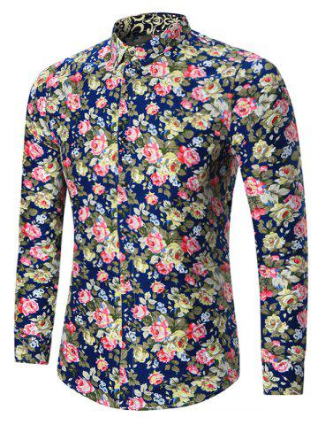 Shop Plus Size All Over Floral Printed Shirt - 5XL CADETBLUE Mobile