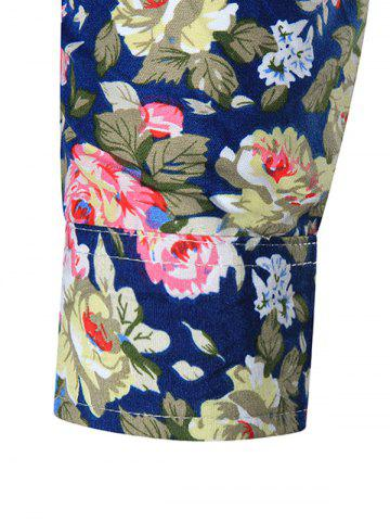 Latest Plus Size All Over Floral Printed Shirt - 5XL CADETBLUE Mobile