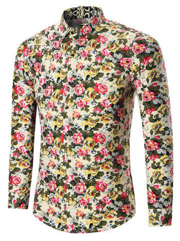 Affordable Plus Size All Over Floral Printed Shirt