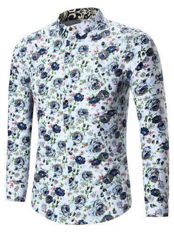 Trendy Plus Size All Over Floral Printed Shirt WHITE 7XL