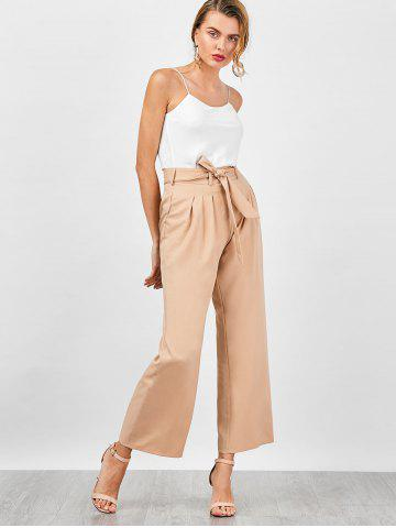 Chic High Waisted Wide Leg Pants - M APRICOT Mobile