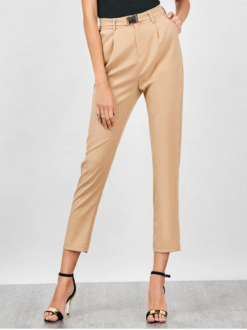Chic High Waisted Cigarette Pants LIGHT KHAKI M