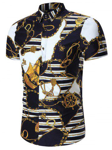 Buy Chain Printed Plus Size Shirt COLORMIX 5XL