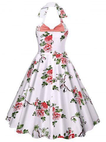 New Halter Neck Floral A Line Vintage Dress - M PINK Mobile