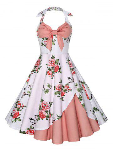 Discount Halter Neck Floral A Line Vintage Dress - M PINK Mobile