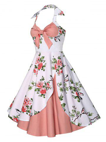 Affordable Halter Neck Floral A Line Vintage Dress - M PINK Mobile