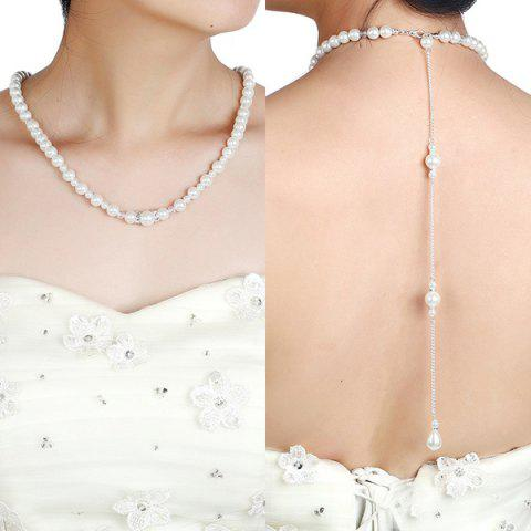 Faux Pearl Rhinestone Beaded Backdrop Necklace - Silver