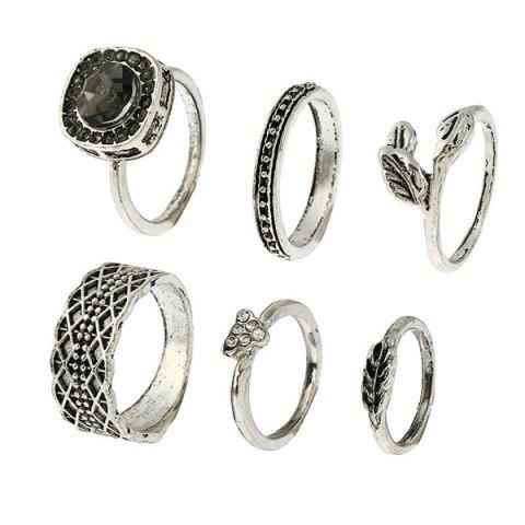 Unique Alloy Rhinestone Engraved Leaf Gypsy Ring Set - SILVER  Mobile