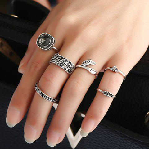 Shop Alloy Rhinestone Engraved Leaf Gypsy Ring Set - SILVER  Mobile