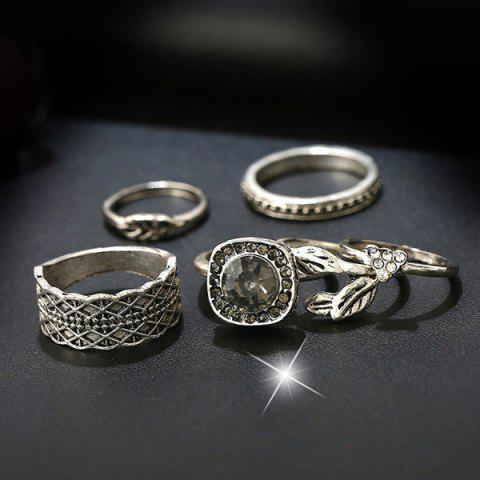 Best Alloy Rhinestone Engraved Leaf Gypsy Ring Set - SILVER  Mobile