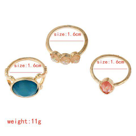 New Faux Gemstone Geometric Ring Set - GOLDEN  Mobile