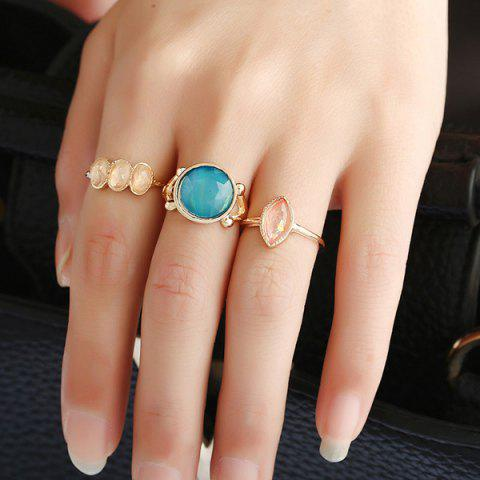 Best Faux Gemstone Geometric Ring Set - GOLDEN  Mobile