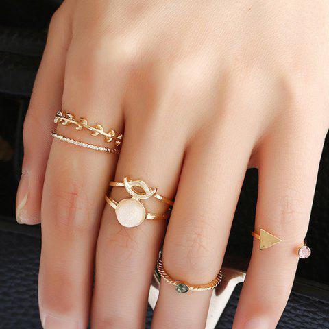 Cheap Alloy Faux Gemstone Triangle Leaf Ring Set - GOLDEN  Mobile