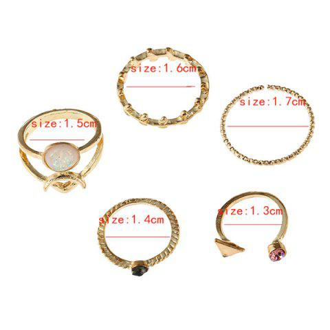 Store Alloy Faux Gemstone Triangle Leaf Ring Set - GOLDEN  Mobile