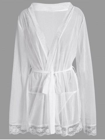 Maillot taille grande voir à travers Robe intime Blanc 3XL