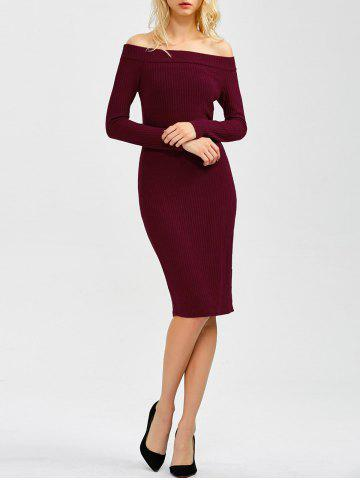 Outfit Off Shoulder Long Sleeve Bodycon Formal Dress WINE RED XL