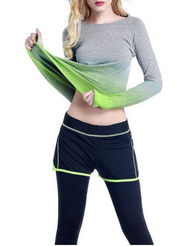 Cheap Running Ombre Yoga Long Sleeve Gym Top GREEN L