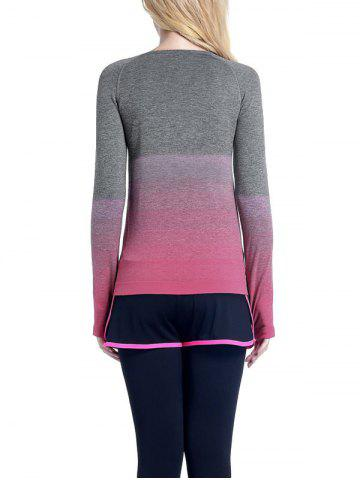 Unique Running Ombre Yoga Long Sleeve Gym Top - L ROSE RED Mobile