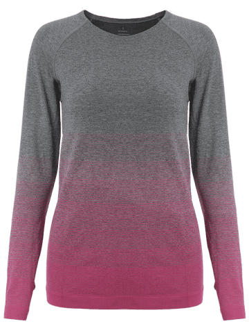 Shop Running Ombre Yoga Long Sleeve Gym Top - L ROSE RED Mobile