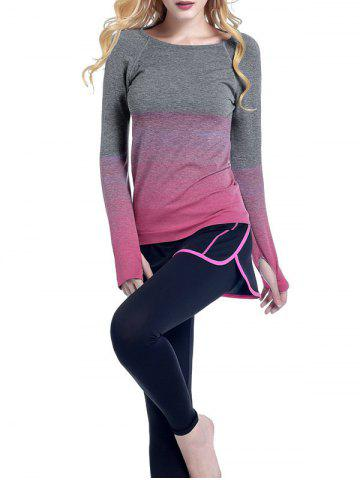 Running Ombre Yoga Long Sleeve Gym Top - Rose Red - S