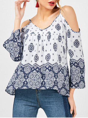 Bohemian Dew Shoulder Smock Blouse - Blue And White - 2xl