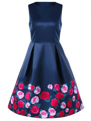 Chic Sleeveless Floral Retro Dress PURPLISH BLUE M