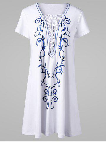 Lace Up Low Cut Tee Dress - White - Xl