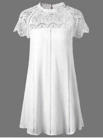 Sale Lace Panel Openwork Insert Flapper Dress WHITE M