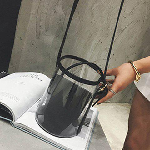 Trendy Transparent Bucket Bag with Pouch Bag - BLACK  Mobile