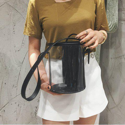New Transparent Bucket Bag with Pouch Bag - BLACK  Mobile