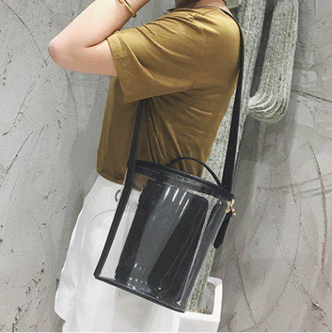 Outfits Transparent Bucket Bag with Pouch Bag - BLACK  Mobile