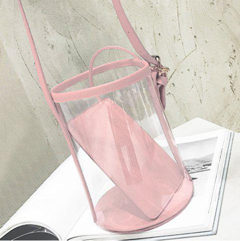 Outfits Transparent Bucket Bag with Pouch Bag - PINK  Mobile