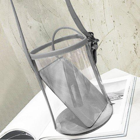 New Transparent Bucket Bag with Pouch Bag - GRAY  Mobile