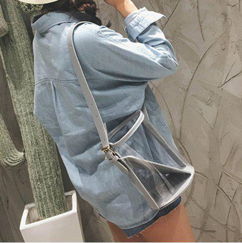 Buy Transparent Bucket Bag with Pouch Bag - GRAY  Mobile