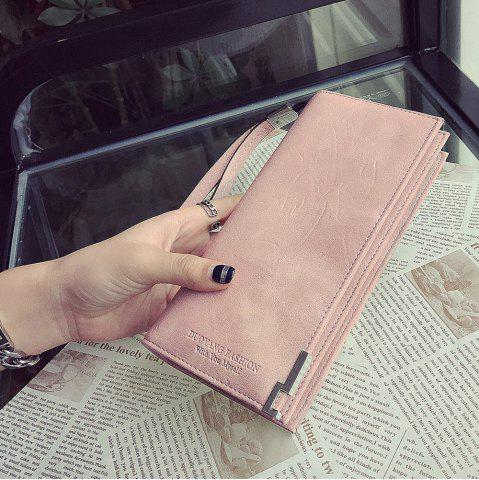 New Bifold Faux Leather Wristlet Wallet - PINK  Mobile