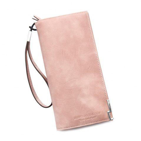 Unique Bifold Faux Leather Wristlet Wallet PINK