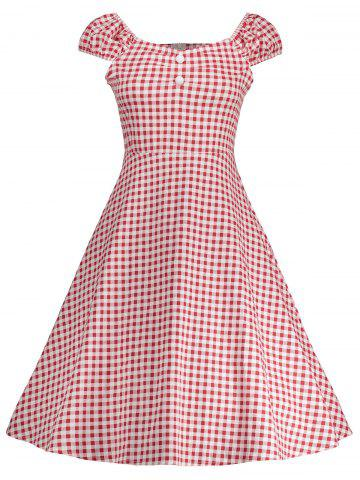 Gingham High Waisted A Line Robe vintage Rouge M