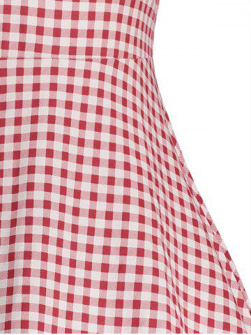 Sale Gingham High Waisted A Line Vintage Dress - 2XL RED Mobile