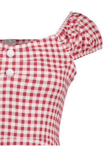 Cheap Gingham High Waisted A Line Vintage Dress - 2XL RED Mobile
