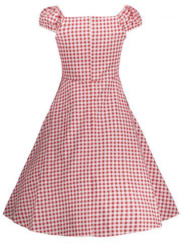 Fashion Gingham High Waisted A Line Vintage Dress - 2XL RED Mobile