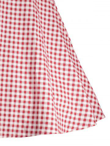 Fancy Gingham High Waisted A Line Vintage Dress - 2XL RED Mobile