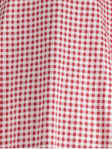 Store Gingham High Waisted A Line Vintage Dress - 2XL RED Mobile