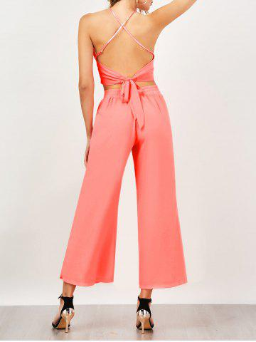 Criss Cross Backless High Waist Chiffon Suit