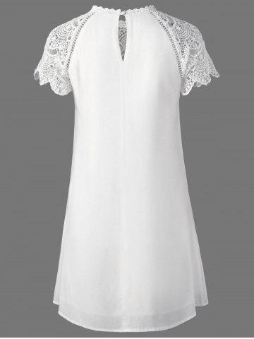 Store Lace Panel Openwork Insert Flapper Dress - 2XL WHITE Mobile