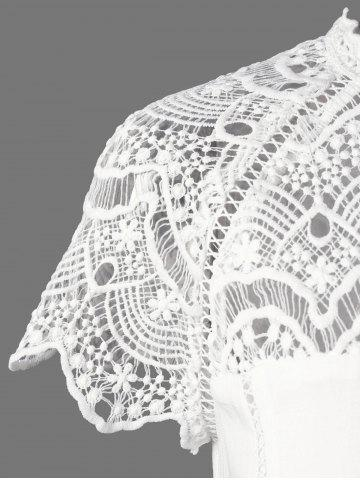Buy Lace Panel Openwork Insert Flapper Dress - 2XL WHITE Mobile