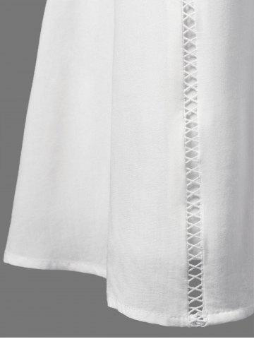 Sale Lace Panel Openwork Insert Flapper Dress - 2XL WHITE Mobile